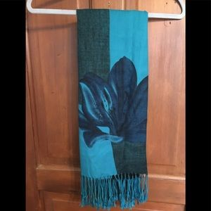 Accessories - Very long turquoise blue black shawl wrap